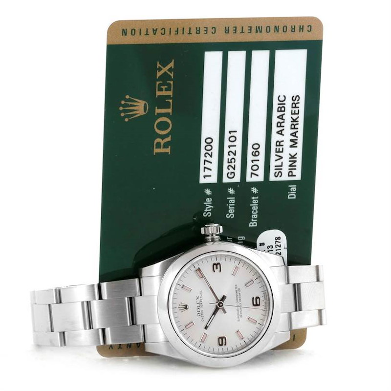 Rolex Oyster Perpetual Midsize Steel Silver Dial Watch 177200 SwissWatchExpo