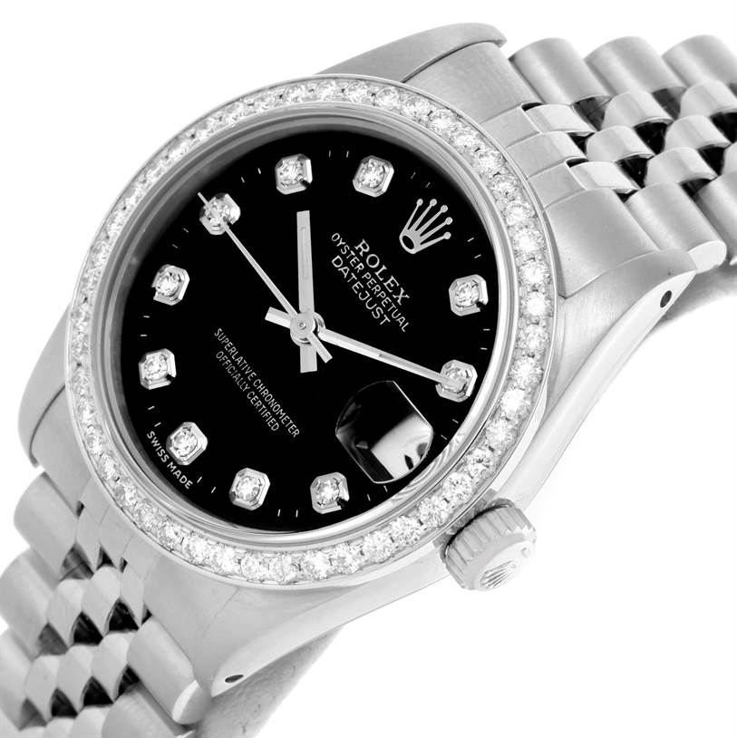 Rolex Datejust Midsize Steel 18k White Gold Diamond Watch 68274 SwissWatchExpo