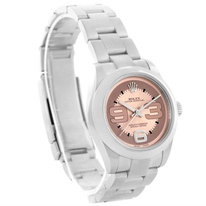 Rolex Oyster Perpetual Midsize Steel Pink Dial Watch 177200 SwissWatchExpo