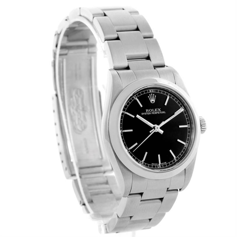 Rolex Midsize Oyster Perpetual Black Dial Stainless Steel Watch 77080 SwissWatchExpo
