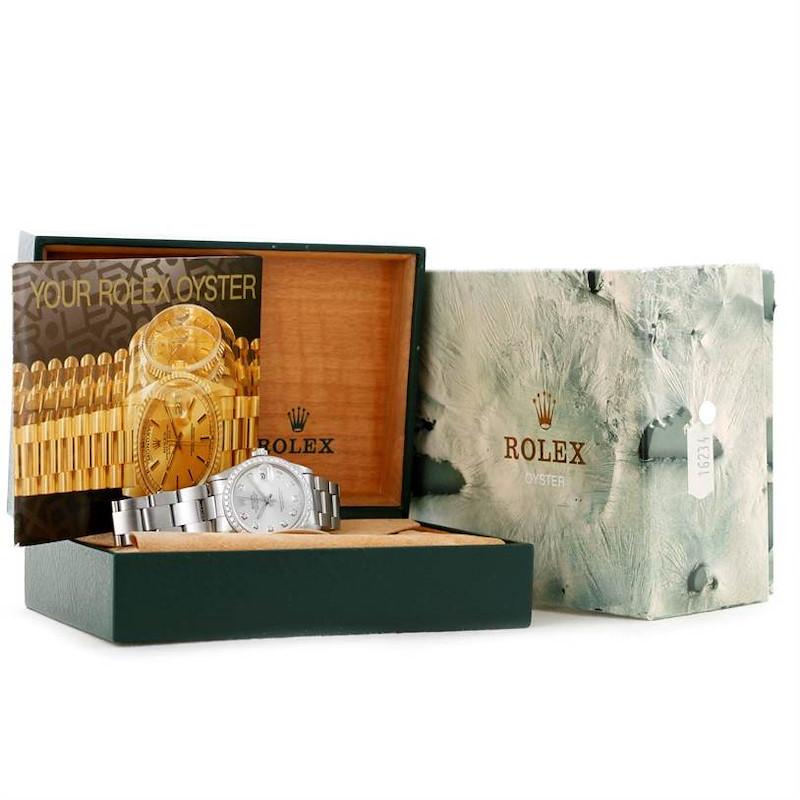 Rolex Midsize Datejust Stainless Steel Diamond Watch 68240 SwissWatchExpo