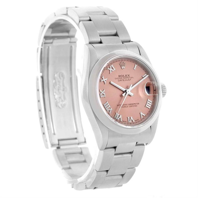Rolex Midsize Datejust Salmon Roman Dial Ladies Steel Watch 78240 SwissWatchExpo