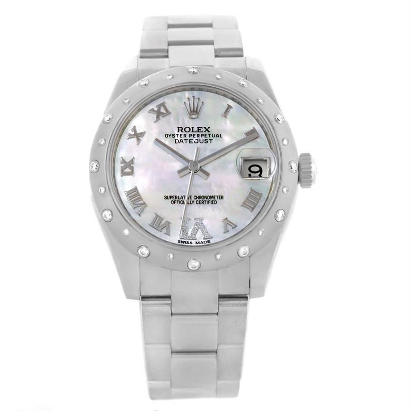 Rolex Datejust Midsize Stainless Steel Diamond Watch 178344 SwissWatchExpo