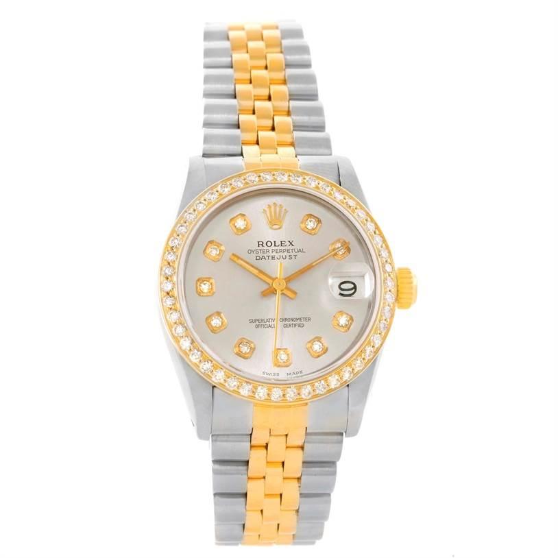 Rolex Datejust Midsize Steel Yellow Gold Diamond Bezel Watch 68273 SwissWatchExpo