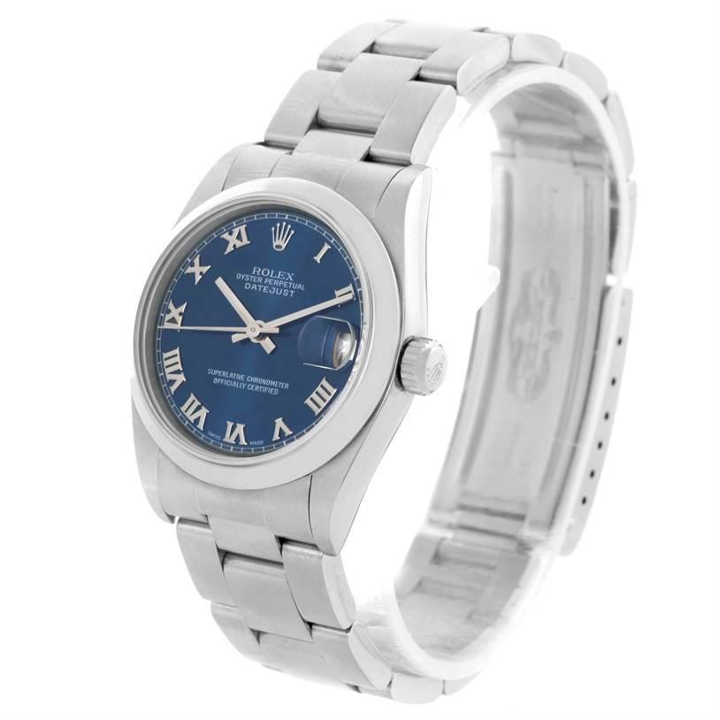 Rolex Midsize Datejust Stainless Steel Blue Roman Dial Watch 68240 SwissWatchExpo