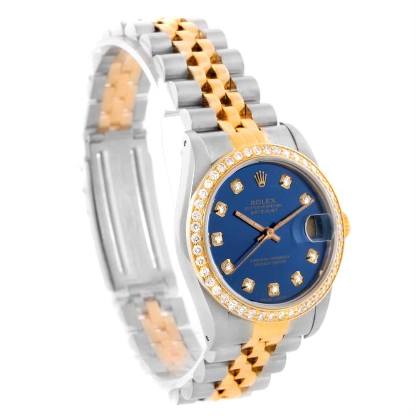 10994 Rolex Datejust Midsize Steel Yellow Gold Diamond Bezel Watch 68273 SwissWatchExpo