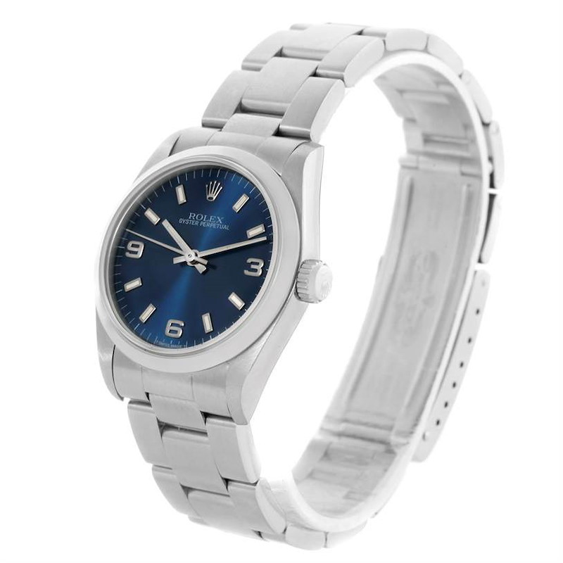 Rolex Midsize Oyster Perpetual Blue Dial Stainless Steel Watch 67480 SwissWatchExpo