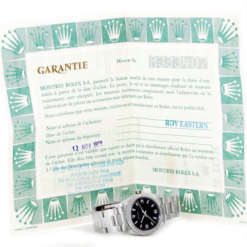 Rolex Midsize Datejust Black Dial Oyster Bracelet Steel Watch 77080 SwissWatchExpo