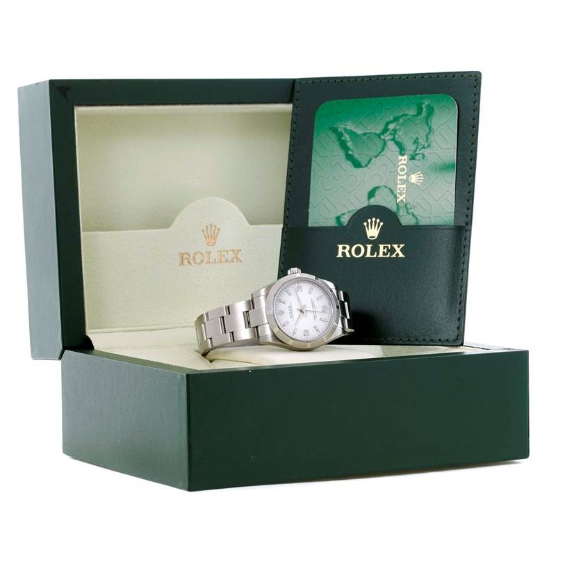 11264 Rolex Oyster Perpetual Midsize Steel Silver Dial Watch 177210 SwissWatchExpo