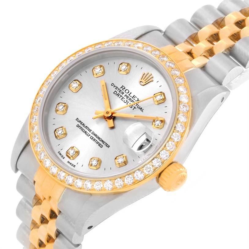 Rolex Datejust Midsize Steel Yellow Gold Diamond Ladies Watch 68273 SwissWatchExpo