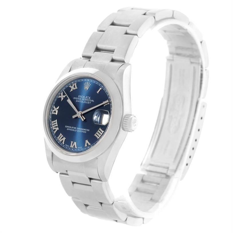 Rolex Midsize Datejust Blue Roman Dial Ladies Steel Watch 78240 SwissWatchExpo