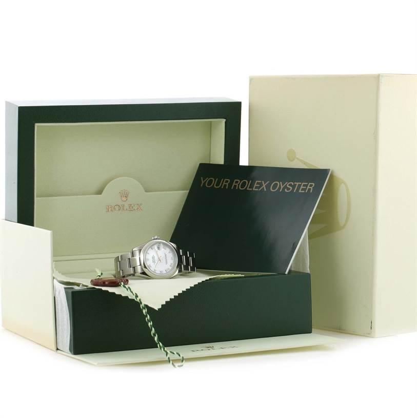 Rolex Midsize Datejust White Roman Dial Stainless Steel Watch 178240 SwissWatchExpo