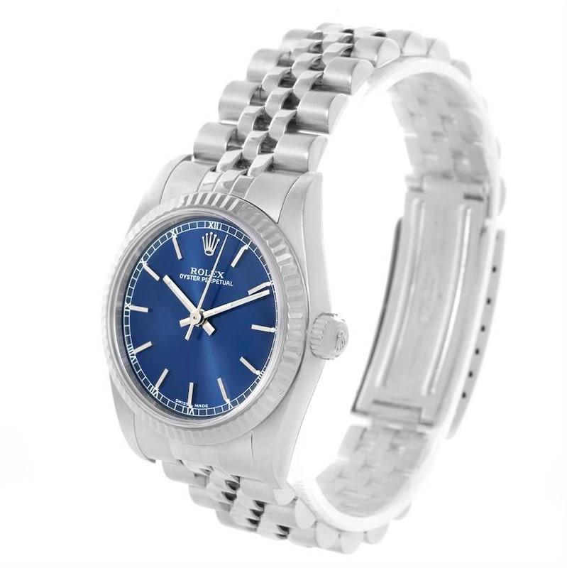 Rolex Datejust Midsize Steel 18K White Gold Blue Dial Watch 77014 SwissWatchExpo