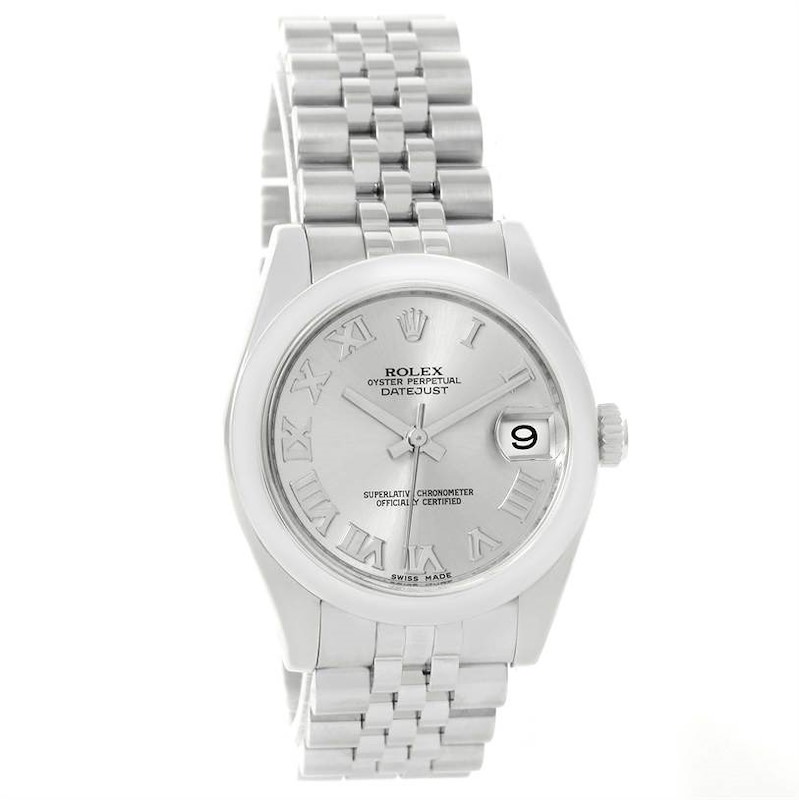 Rolex Midsize Datejust Silver Roman Dial Steel Watch 178240 Box Papers SwissWatchExpo