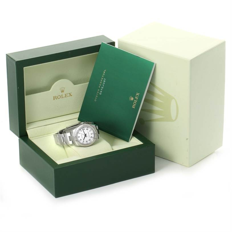 Rolex Oyster Perpetual Midsize Steel White Diamond Dial Watch 177234 SwissWatchExpo