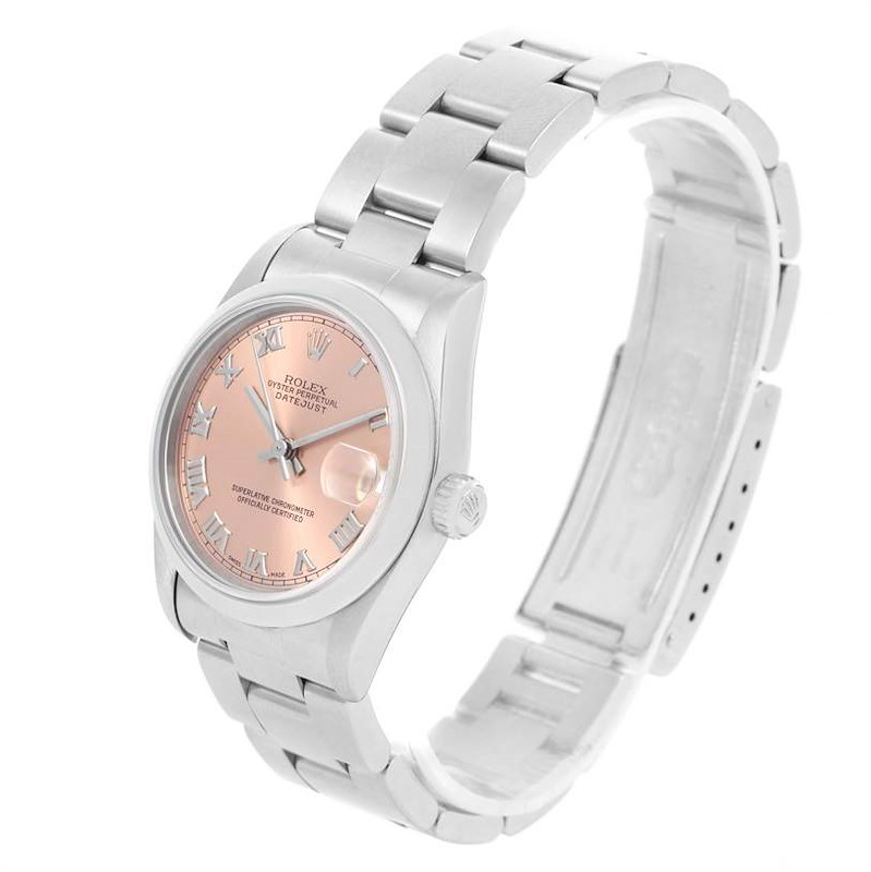 Rolex Midsize Datejust Stainless Steel Salmon Roman Dial Watch 68240 SwissWatchExpo
