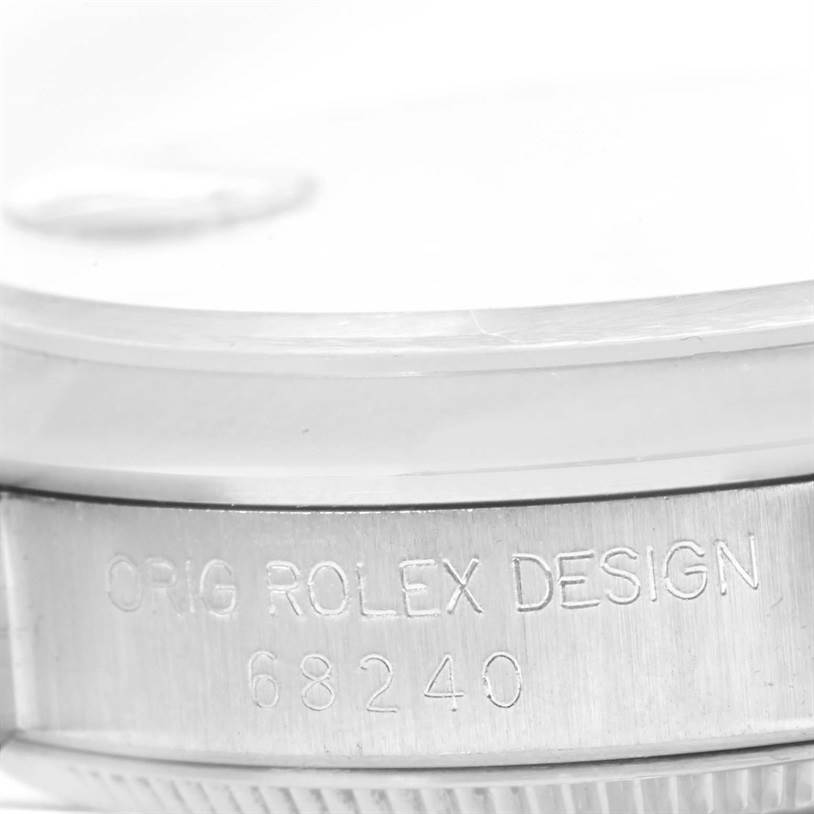 Rolex Midsize Datejust Steel Silver Tapestry Dial Ladies Watch 68240 SwissWatchExpo