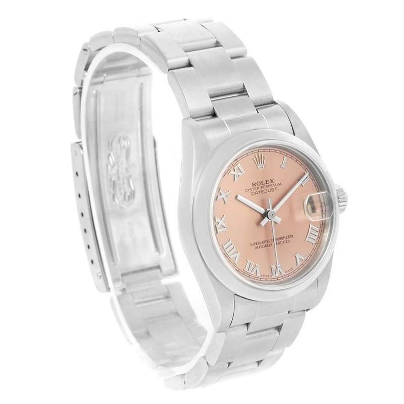 Rolex Datejust Midsize Salmon Roman Dial Stainless Steel Watch 78240 SwissWatchExpo