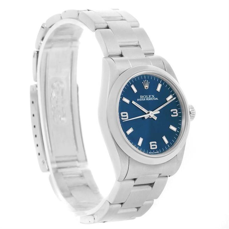 Rolex Midsize Non-Date Blue Dial Oyster Bracelet Steel Watch 77080 SwissWatchExpo