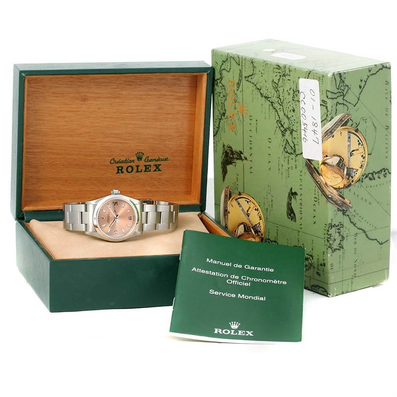 Rolex Midsize Oyster Perpetual Salmon Dial Steel Watch 77080 SwissWatchExpo