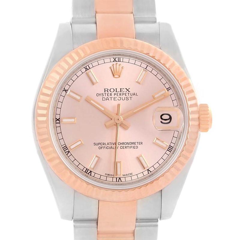 Rolex Datejust Midsize Steel 18k Rose Gold Oyster Bracelet Watch 178271 SwissWatchExpo