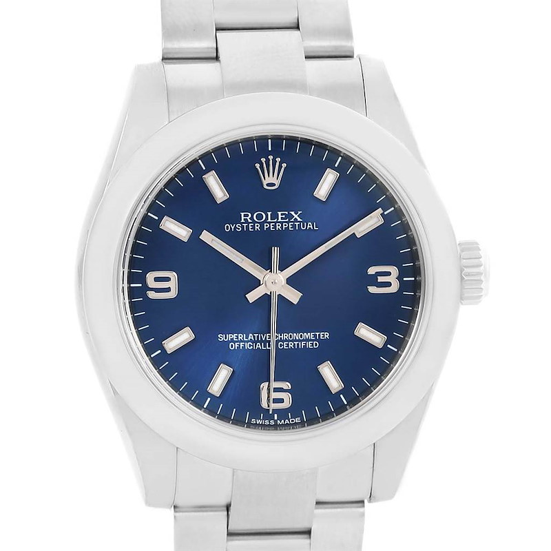 Rolex Midsize Blue Dial Oyster Bracelet Steel Ladies Watch 177200 SwissWatchExpo