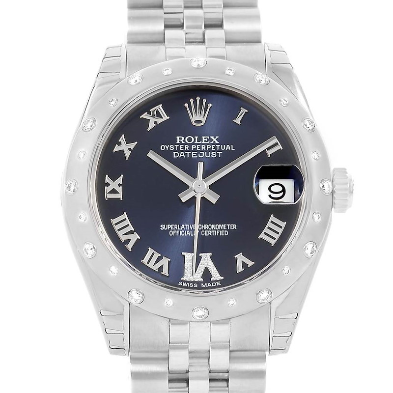 Rolex Datejust Midsize Purple Dial Steel Diamond Watch 178344 Unworn SwissWatchExpo