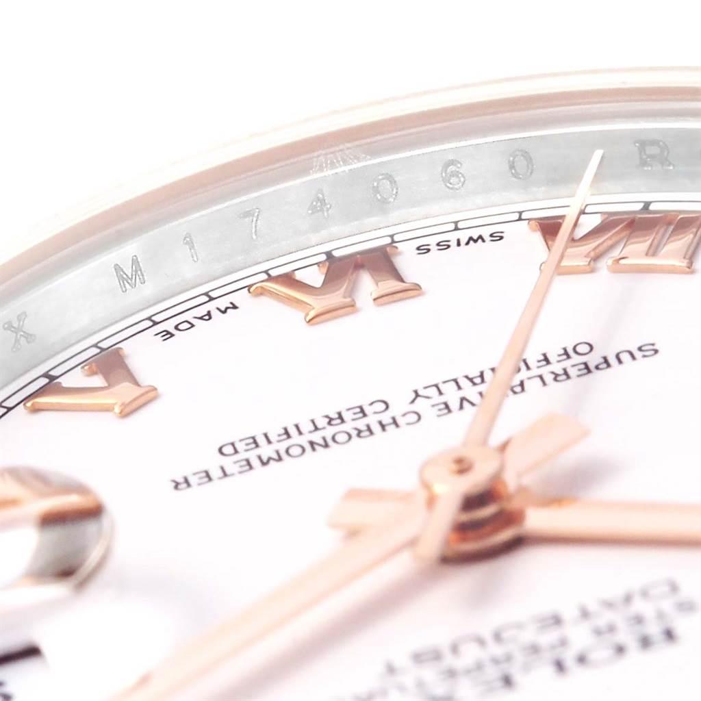 Rolex Datejust Midsize Steel Rose Gold White Roman Dial Watch 178271 SwissWatchExpo