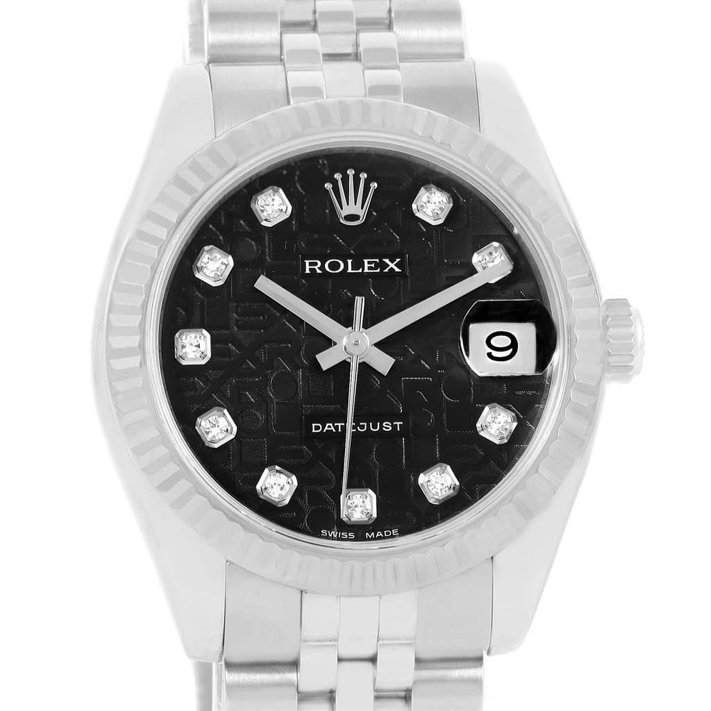 13506 Rolex Datejust Midsize Steel White Gold Diamond Watch 178274 Box Papers SwissWatchExpo