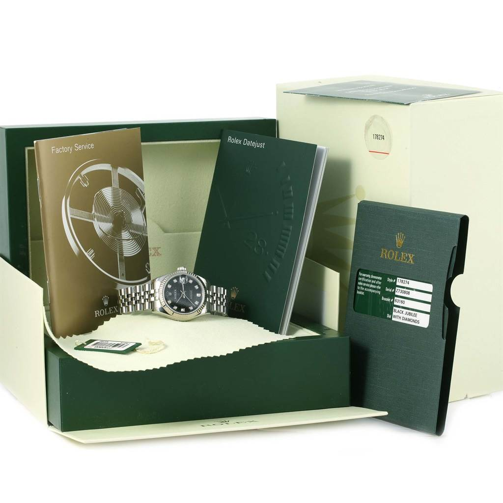 Rolex Datejust Midsize Steel White Gold Diamond Watch 178274 Box Papers SwissWatchExpo