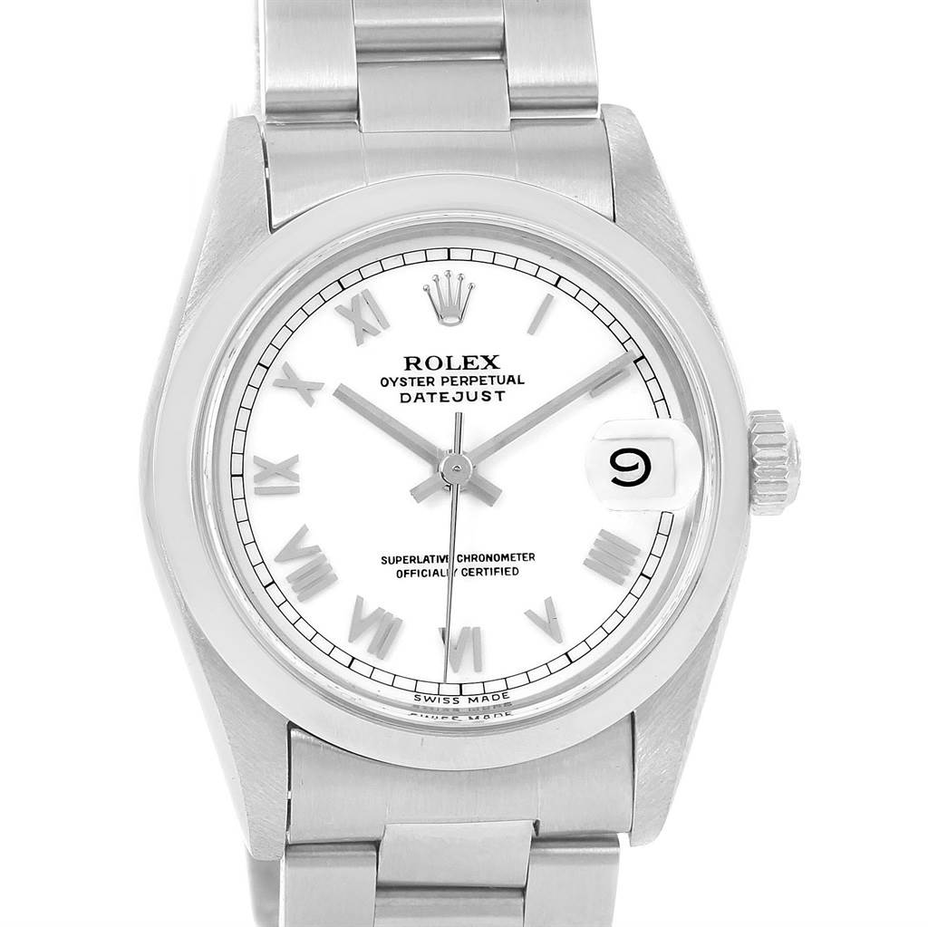 13329 Rolex Midsize Datejust Stainless Steel White Roman Dial Watch 68240 SwissWatchExpo