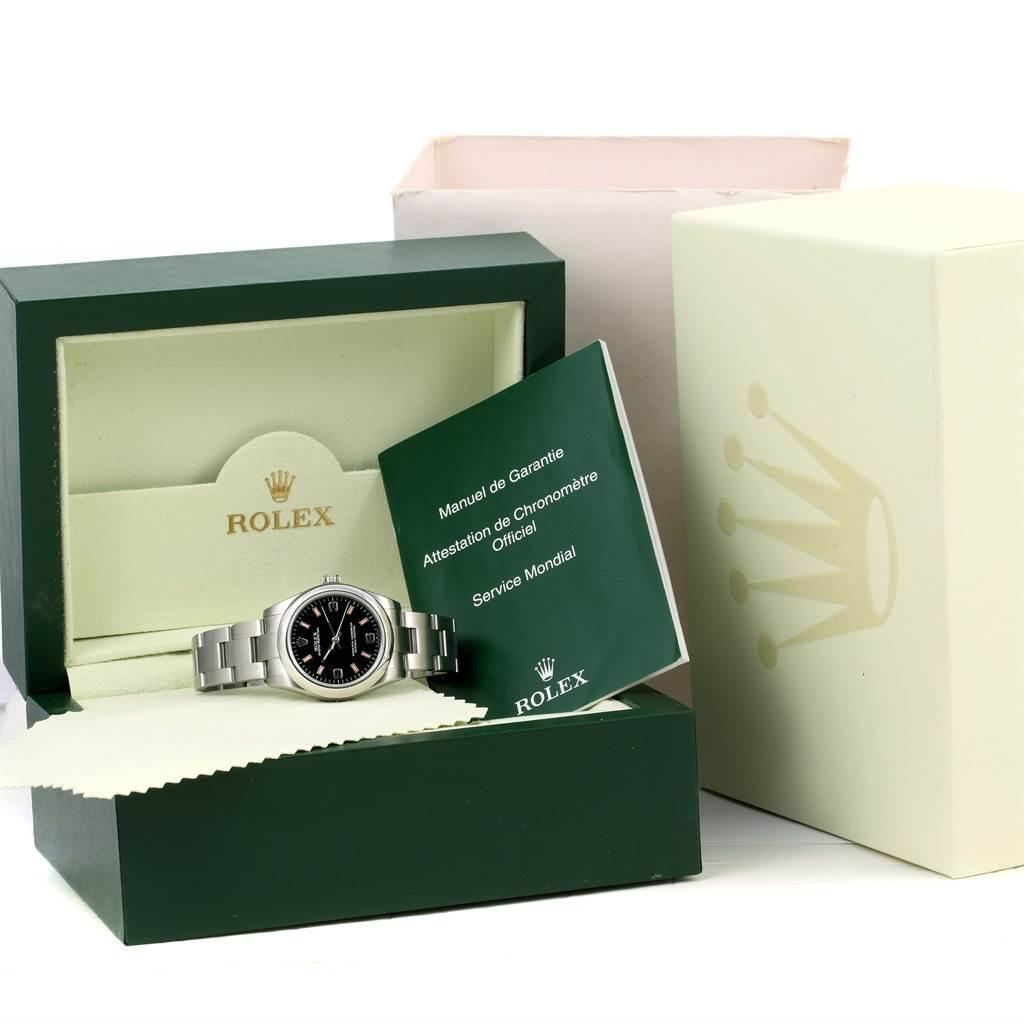 Rolex Midsize Black Dial Pink Hour Markers Steel Ladies Watch 177200 SwissWatchExpo