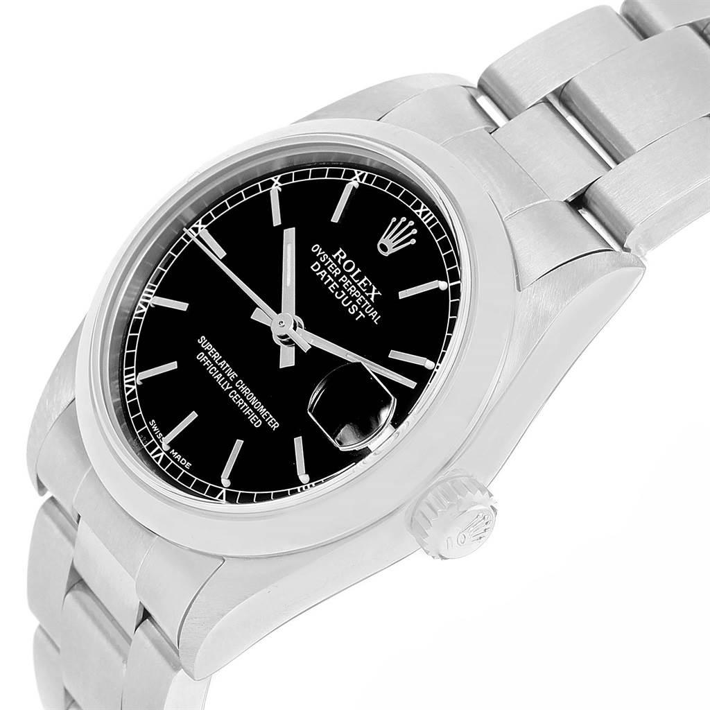 Rolex Datejust Midsize Black Dial Stainless Steel Ladies Watch 78240 SwissWatchExpo