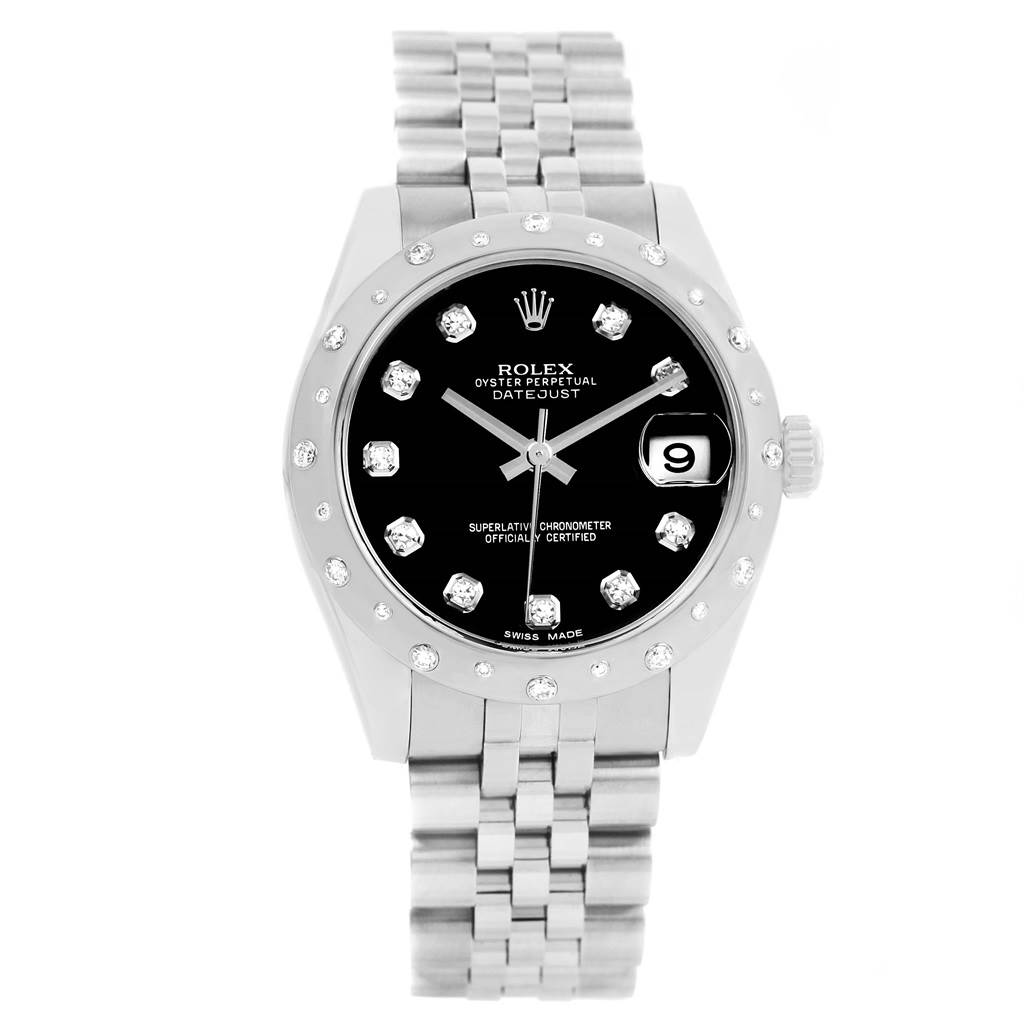 Rolex Datejust Midsize Black Dial Steel Diamond Watch 178344 Box Papers SwissWatchExpo