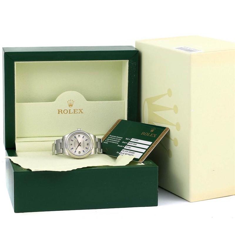 Rolex Midsize Silver Dial Blue Hour Markers Steel Ladies Watch 177200 SwissWatchExpo