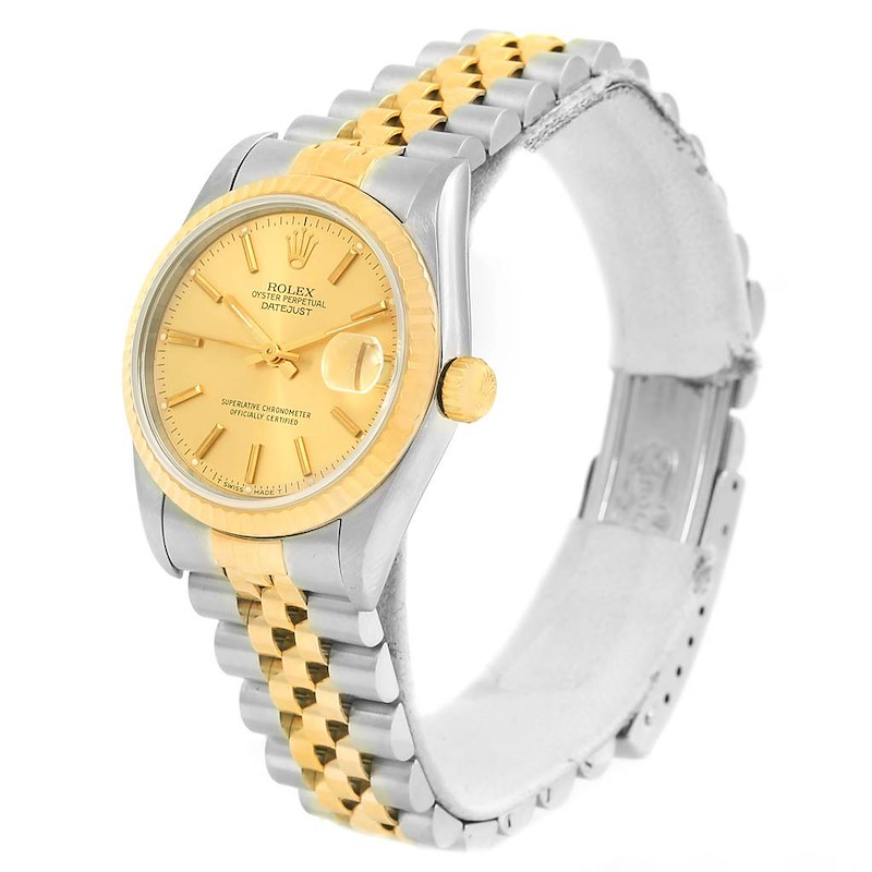 Rolex Datejust Midsize Steel Yellow Gold Baton Dial Ladies Watch 68273 SwissWatchExpo