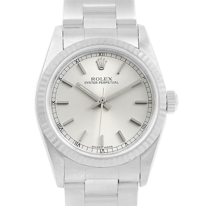 Rolex Midsize Steel 18K White Gold Silver Dial Ladies Watch 77014 SwissWatchExpo