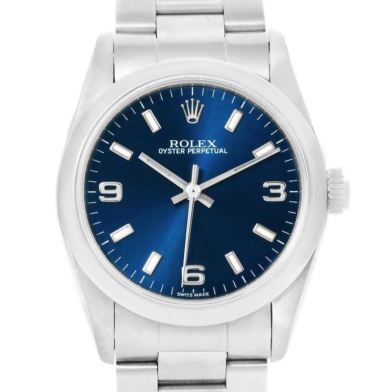 Rolex Midsize Blue Dial Oyster Bracelet Steel Ladies Watch 77080 SwissWatchExpo