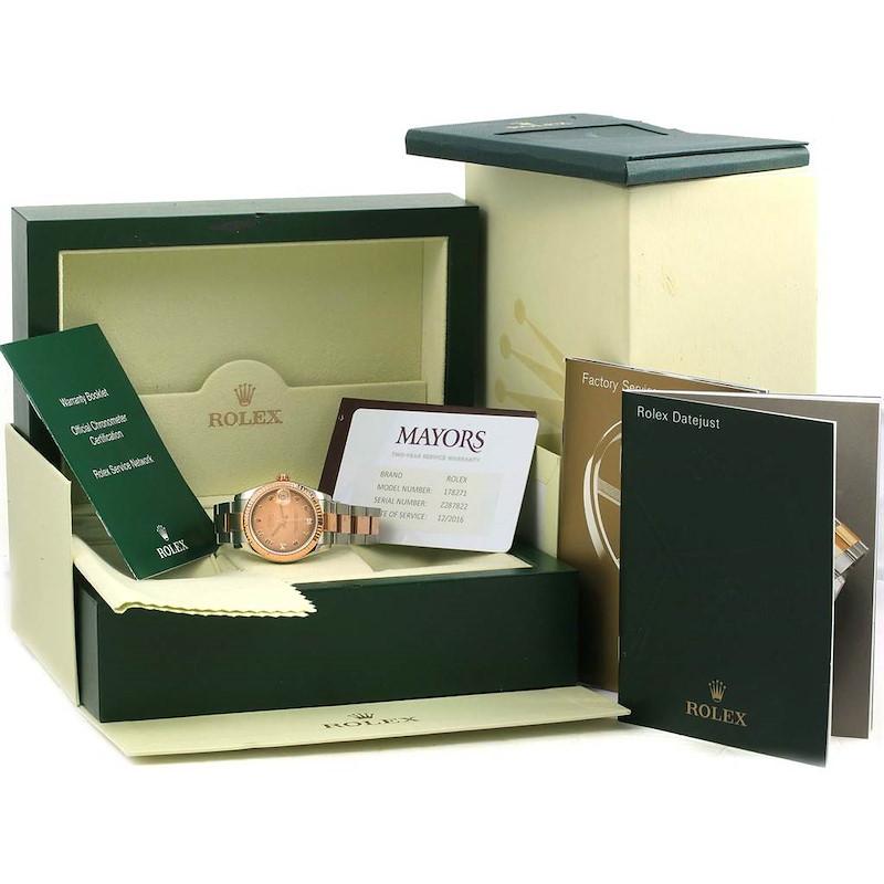 Rolex Datejust Midsize Steel Rose Gold Diamond Ladies Watch 178271 SwissWatchExpo