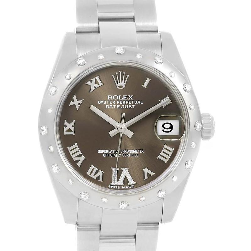 Rolex Datejust Midsize Bronze Dial Diamond Ladies Watch 178344 SwissWatchExpo