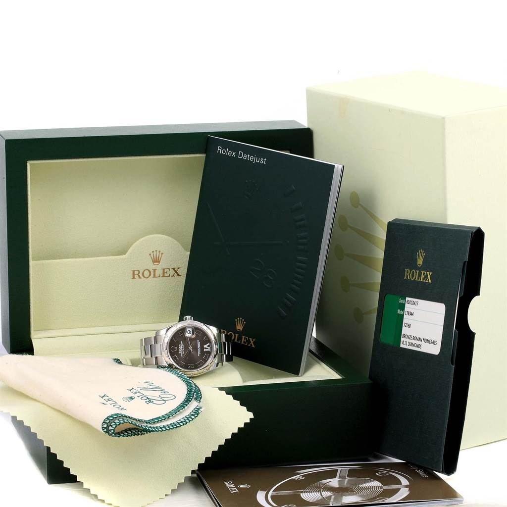 14741 Rolex Datejust Midsize Bronze Dial Diamond Ladies Watch 178344 SwissWatchExpo