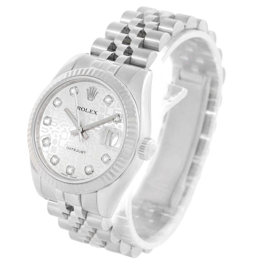 15125 Rolex Datejust Midsize Steel 18k White Gold Diamond Watch 178274 SwissWatchExpo