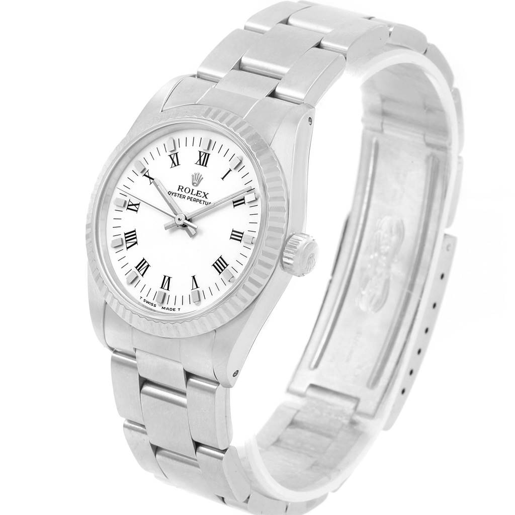 Rolex Midsize 31 Steel White Gold Ladies Watch 67514 Box Papers SwissWatchExpo