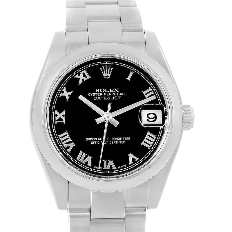 Rolex Datejust Midsize Black Roman Dial Steel Ladies Watch 178240 SwissWatchExpo