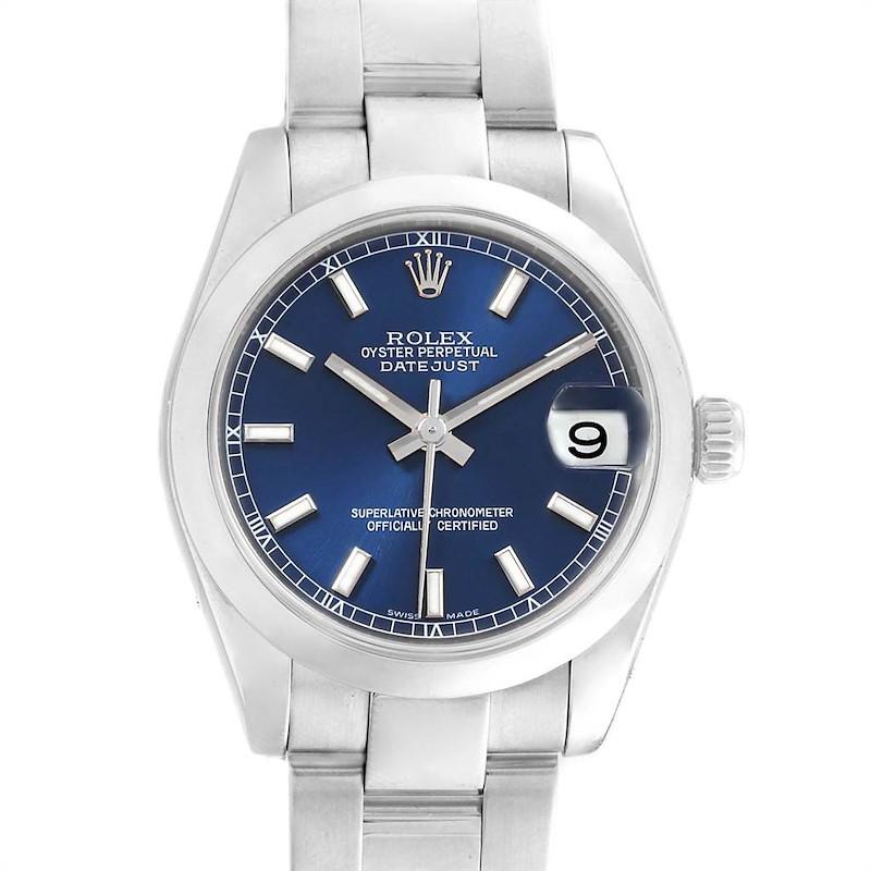 Rolex Datejust Midsize 31 Blue Dial Stainless Steel Ladies Watch 178240 SwissWatchExpo