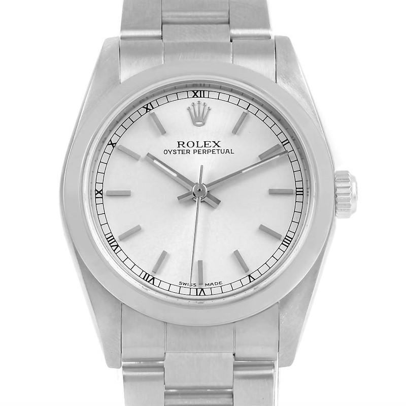 Rolex Midsize Silver Dial Oyster Bracelet Steel Ladies Watch 77080 SwissWatchExpo