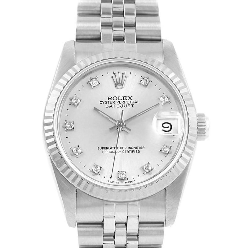 Rolex Datejust Midsize Steel 18k White Gold Diamond Ladies Watch 68274 SwissWatchExpo