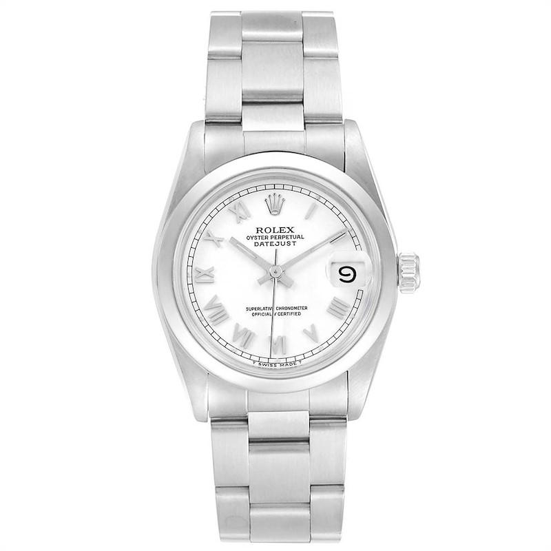 Rolex Midsize Datejust 31 White Dial Ladies Steel Watch 68240 SwissWatchExpo