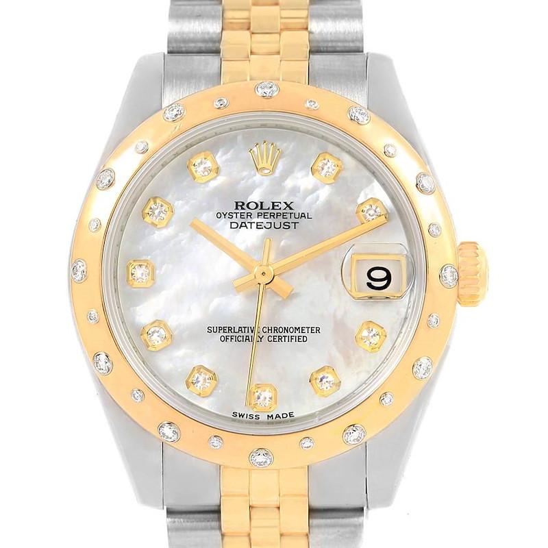 Rolex Datejust 31 Midsize Steel Yellow Gold MOP Diamond Watch 178343 SwissWatchExpo
