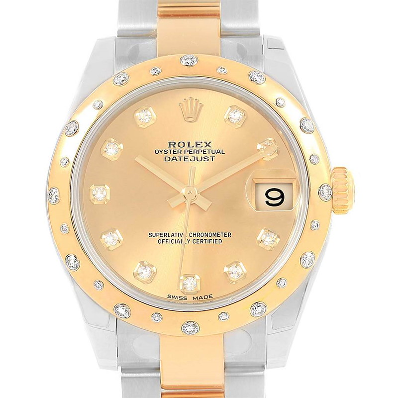 Rolex Datejust 31 Midsize Steel Yellow Gold Diamond Watch 178343 Unworn SwissWatchExpo